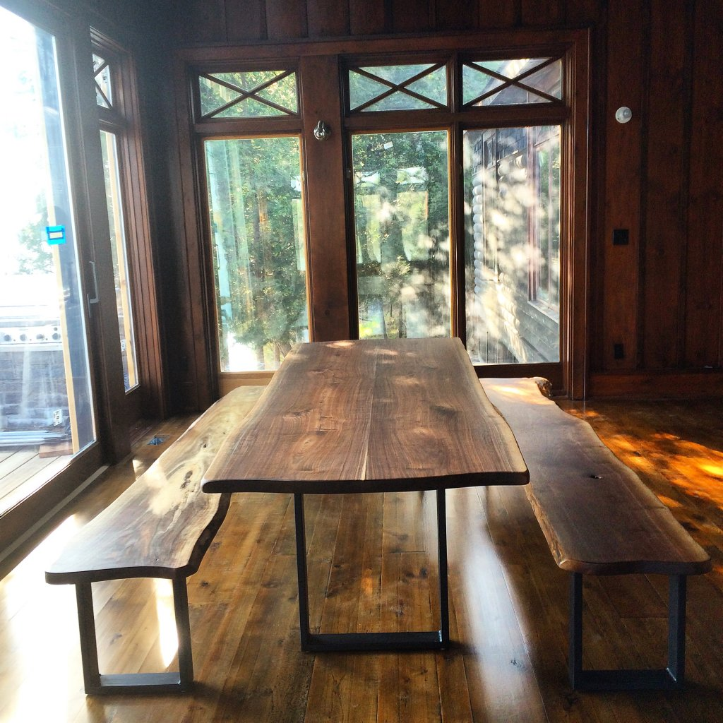 live edge walnut table and benches