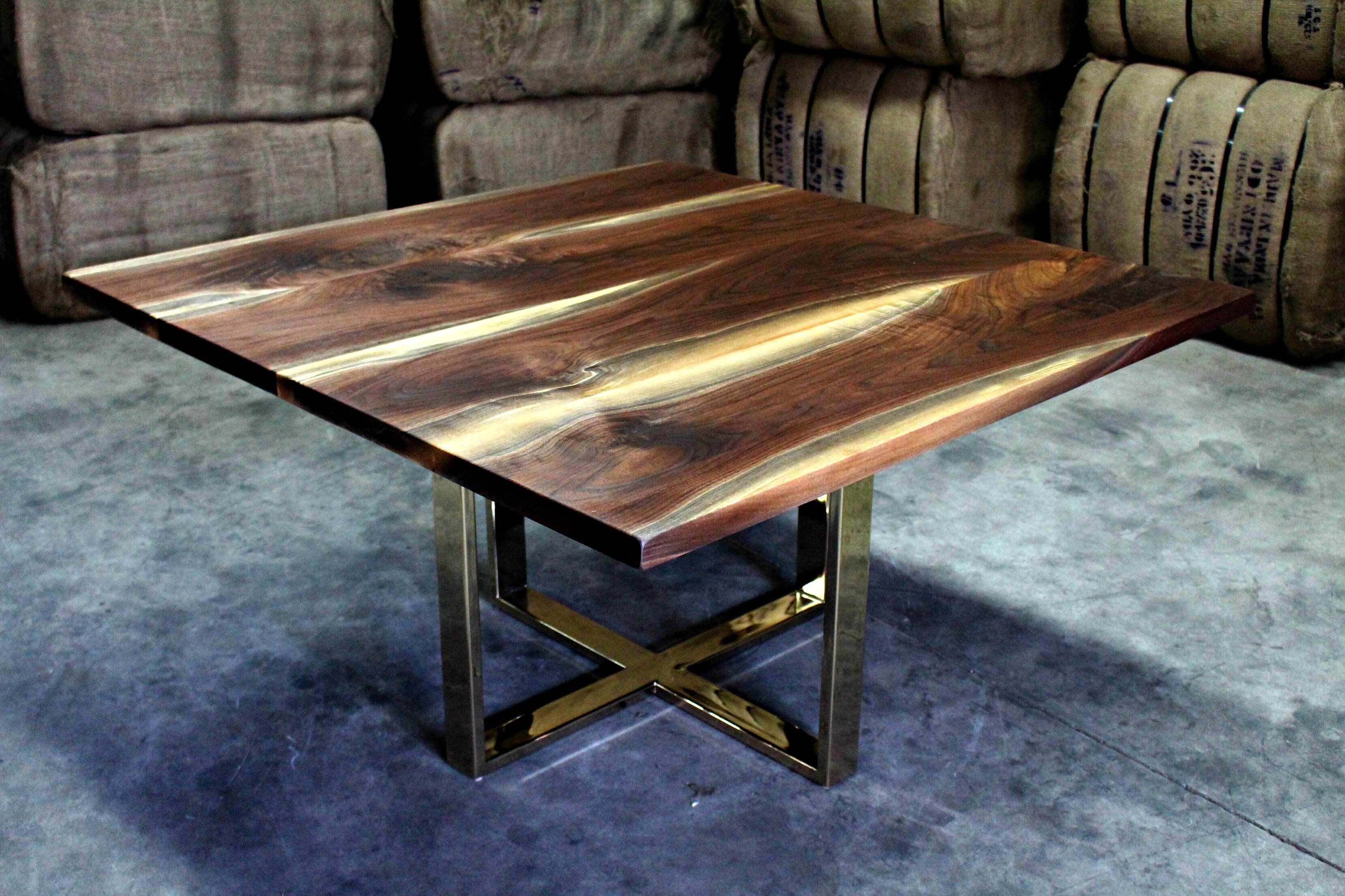 This Elegant And Timeless Black Walnut Table Was Designed For A Client Who  Wanted A Modern Brass Base To Compliment The Square Shape Of The Table.