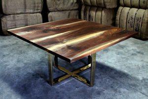 square walnut dining table with brass base muskoka new york Living Wood Design Toronto & Muskoka Ontario Canada