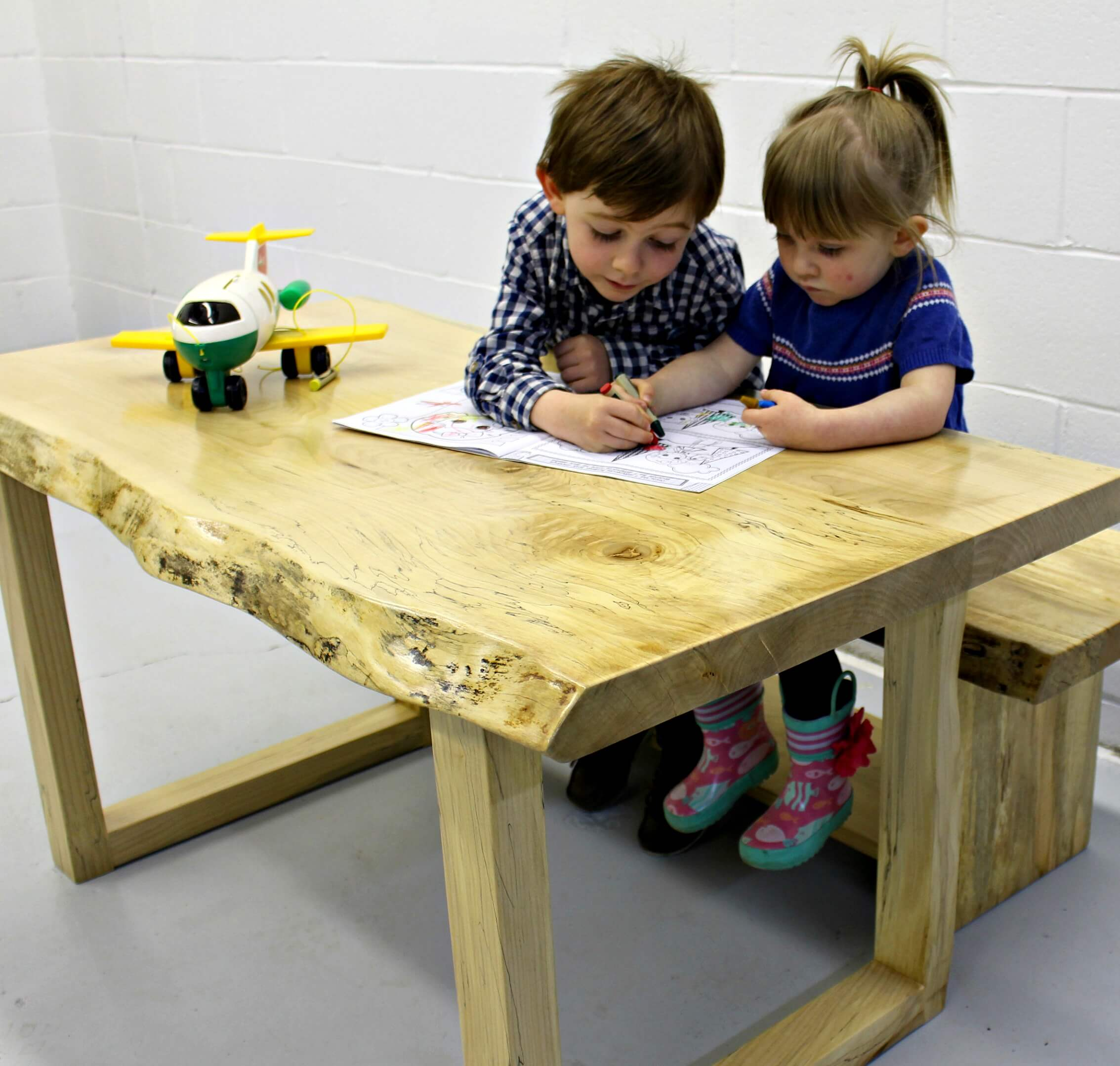 Child's live edge maple table and bench all natural