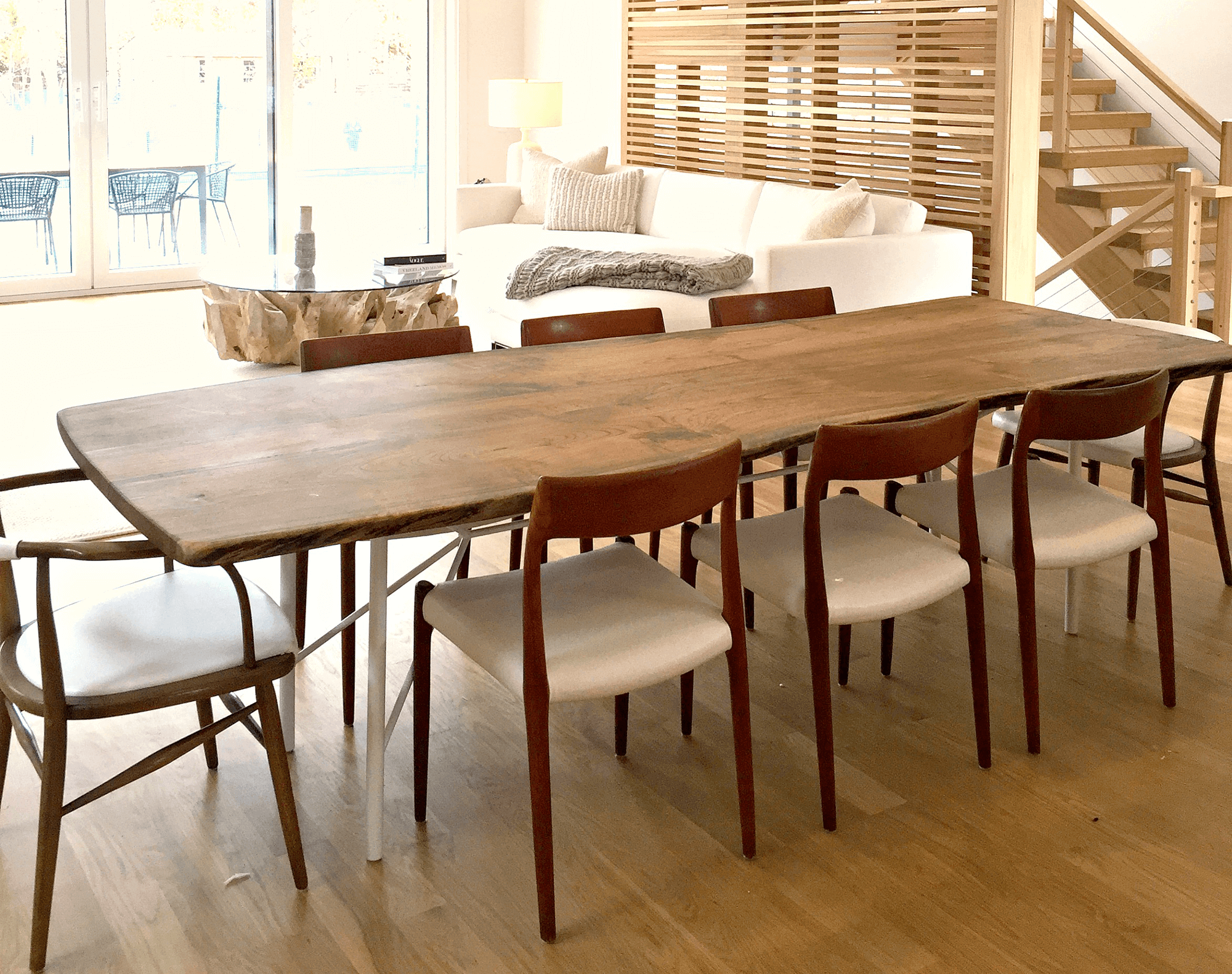 live edge walnut table for luxury Sag Harbor home