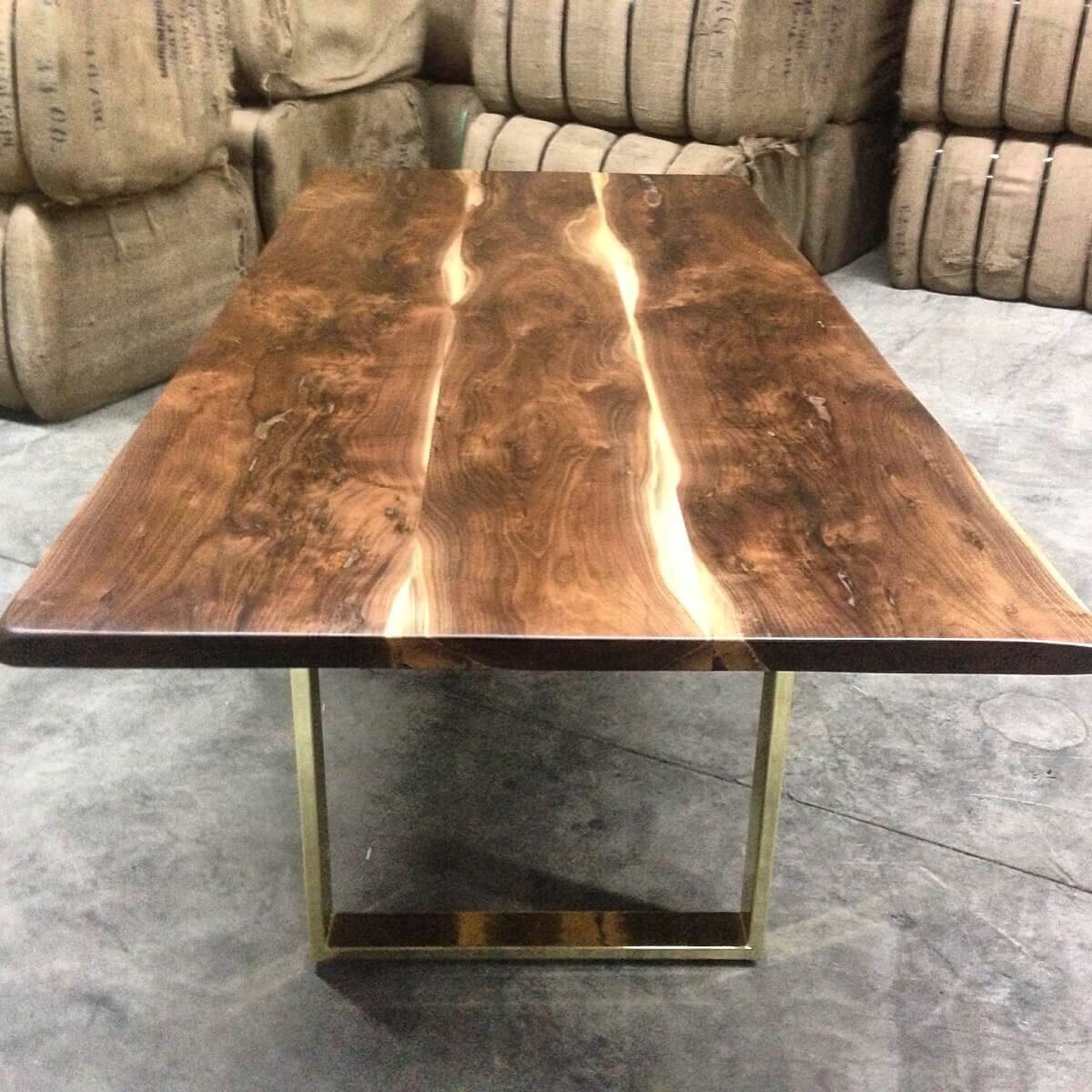 walnut table with brass base Living Wood Design Toronto & Muskoka Ontario Canada