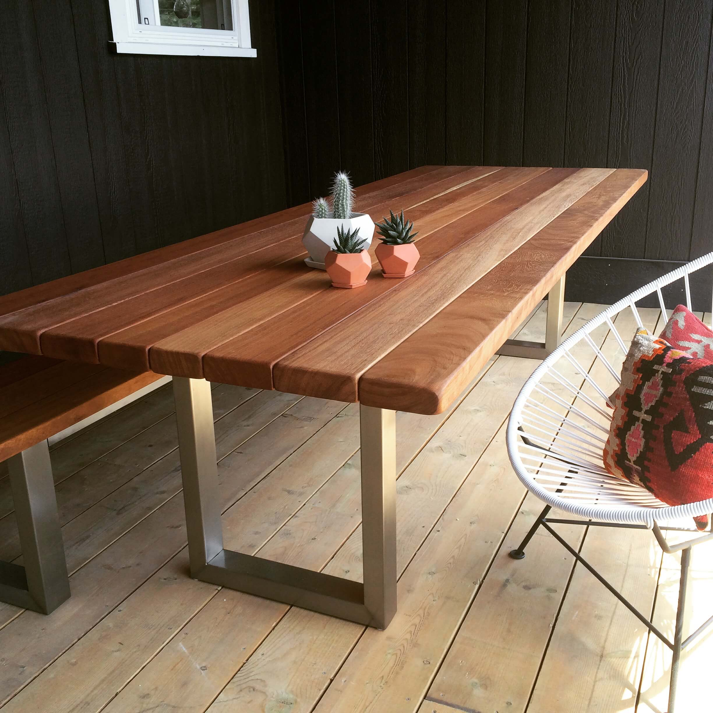 teak outdoor table made in Muskoka