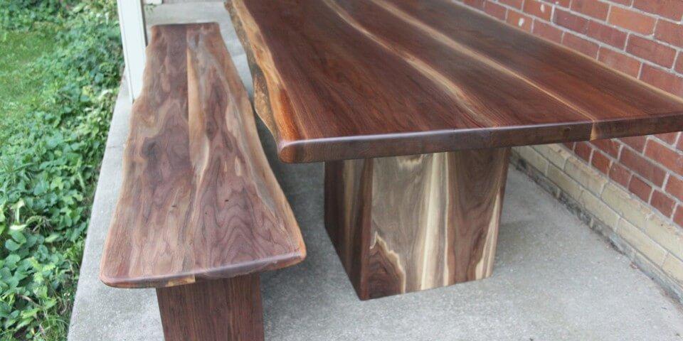live edge walnut table and bench muskoka new york california Living Wood Design Toronto & Muskoka Ontario Canada