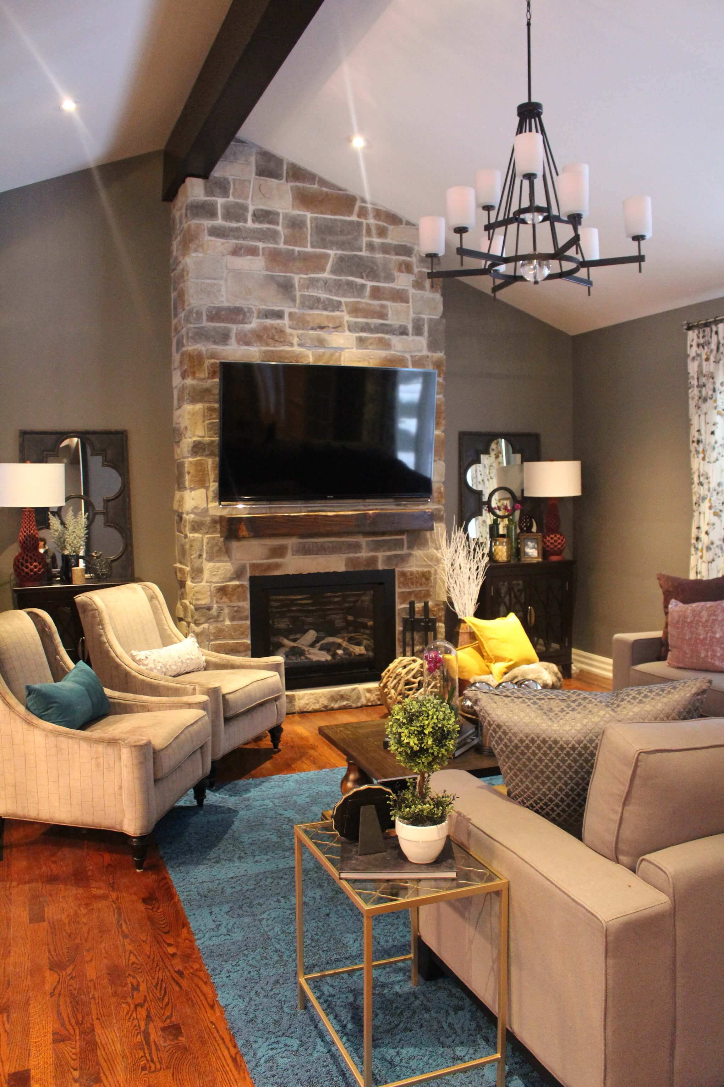 reclaimed mantle on the property brothers