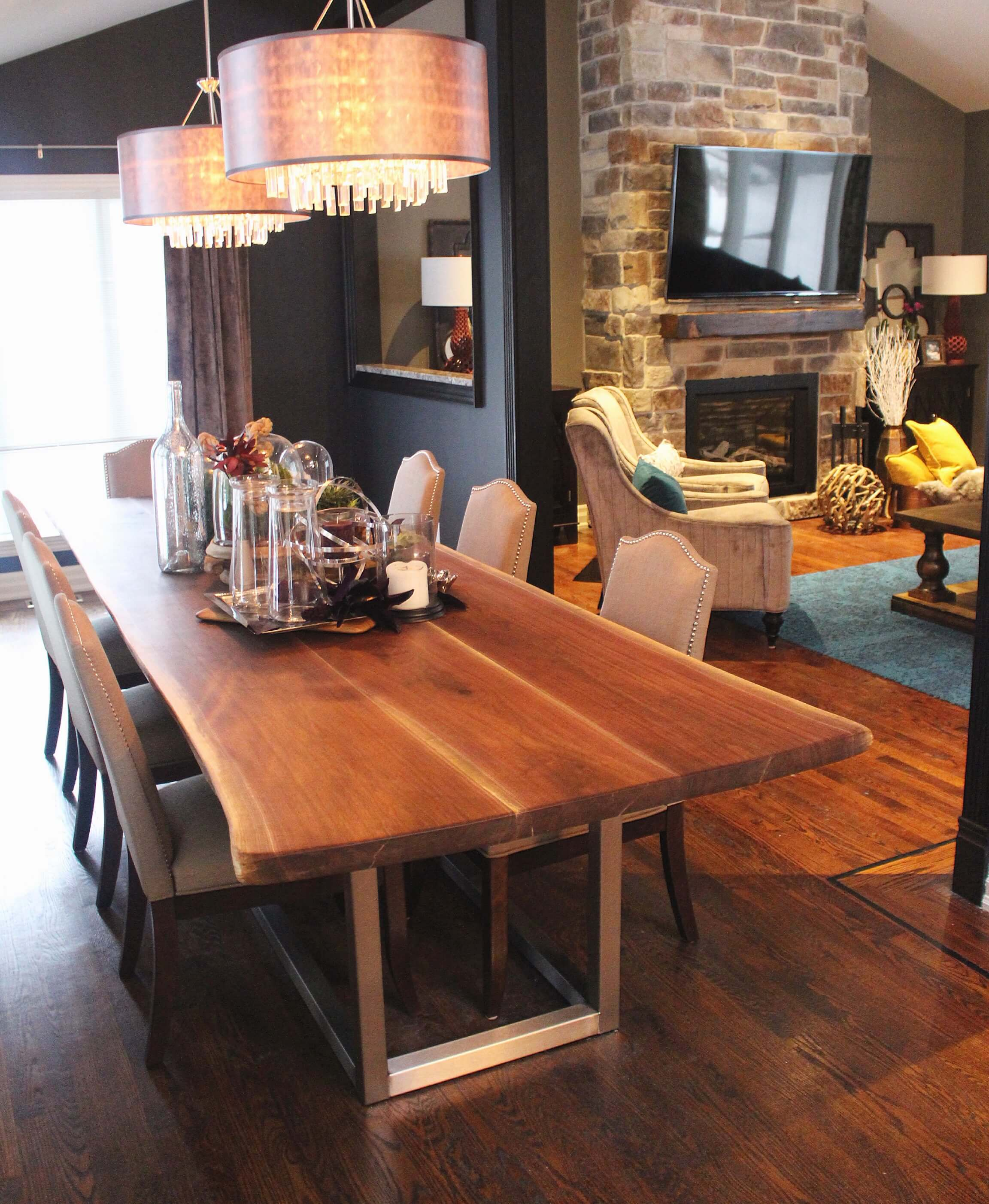 Live edge black walnut table on The Property Brothers
