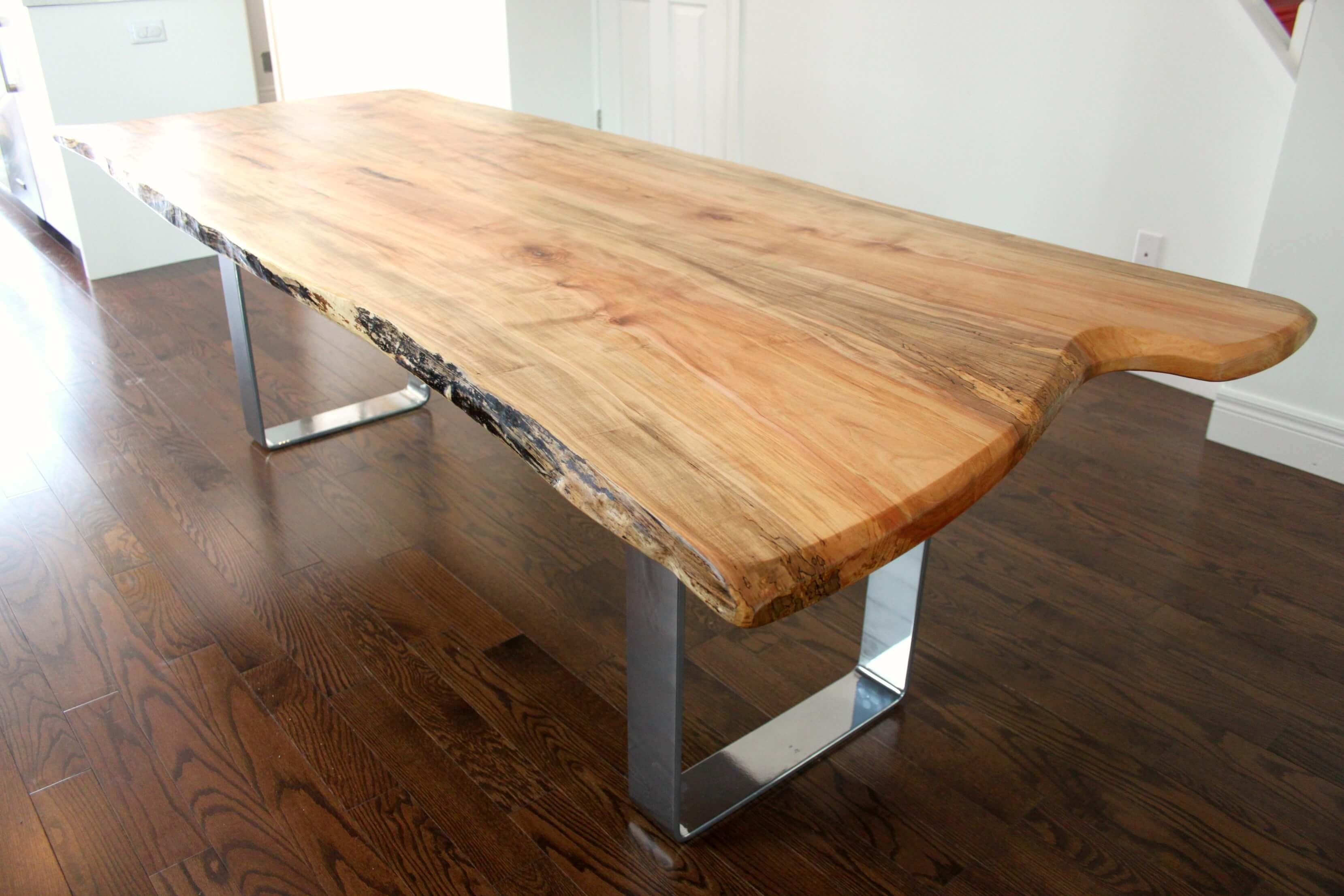 Modern Live Edge Maple Table With Sleek Chrome Base