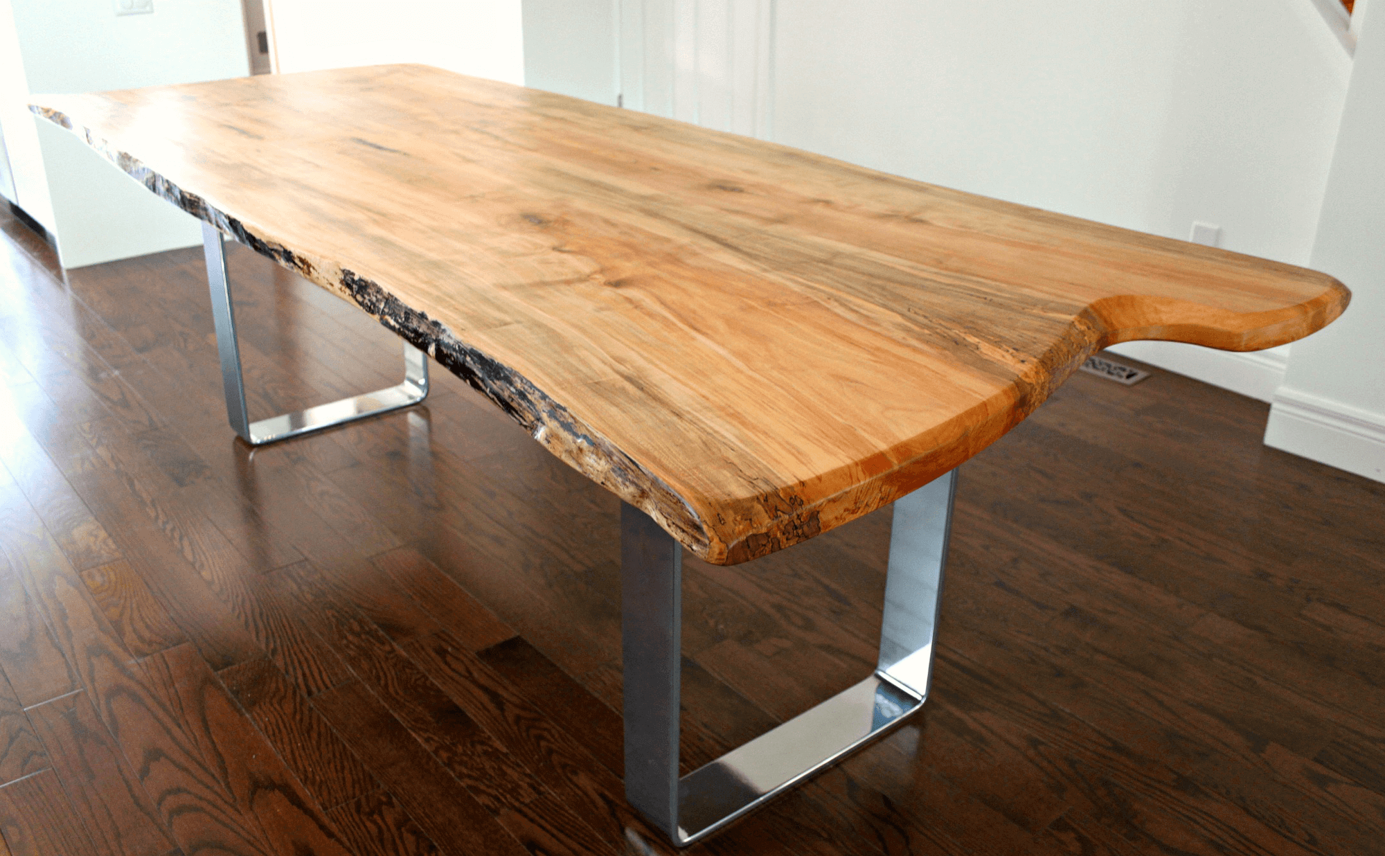 Live Edge Maple Table With Modern Chrome Base