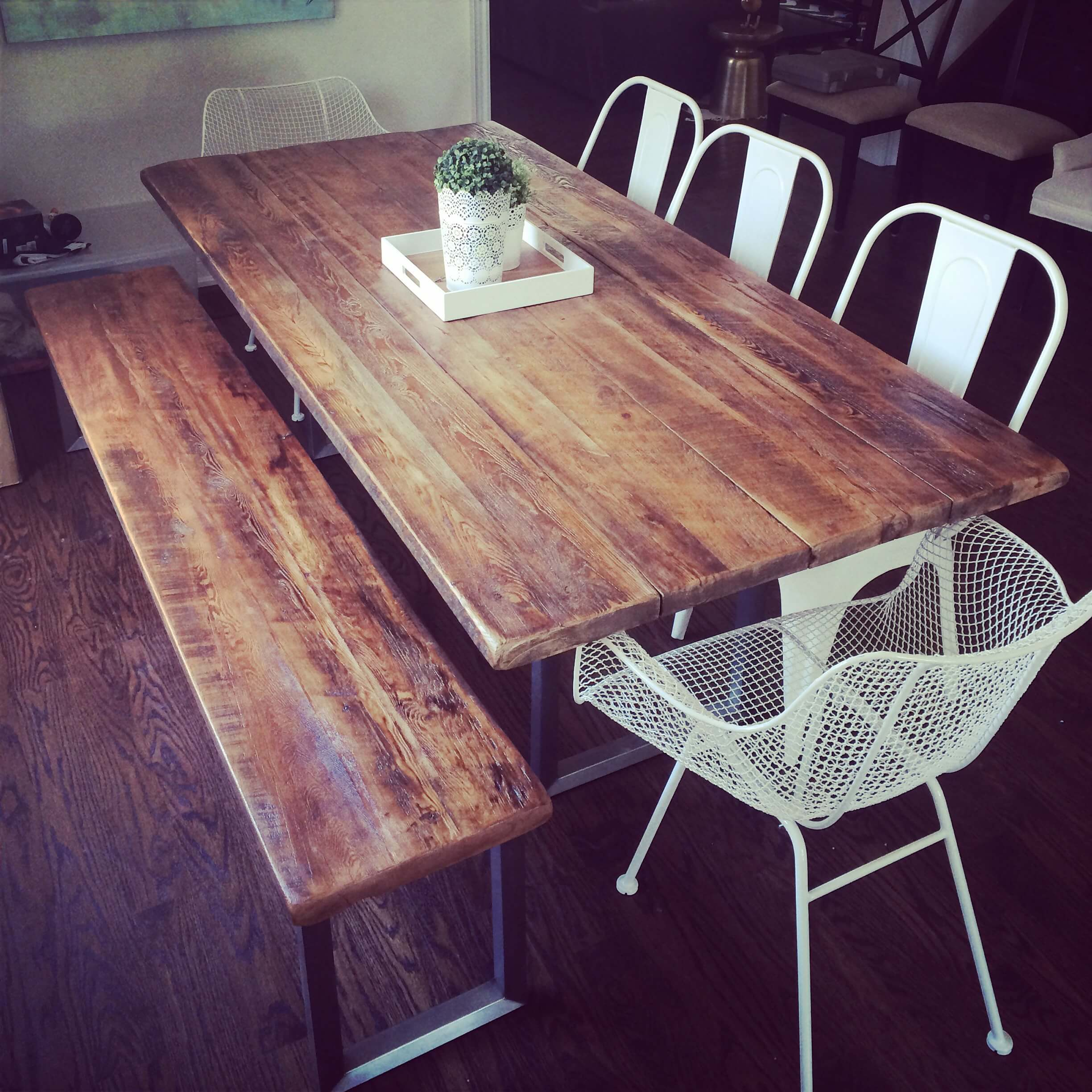 outdoor table with reclaimed boards and steel base toronto & Muskoka Ontario Canada
