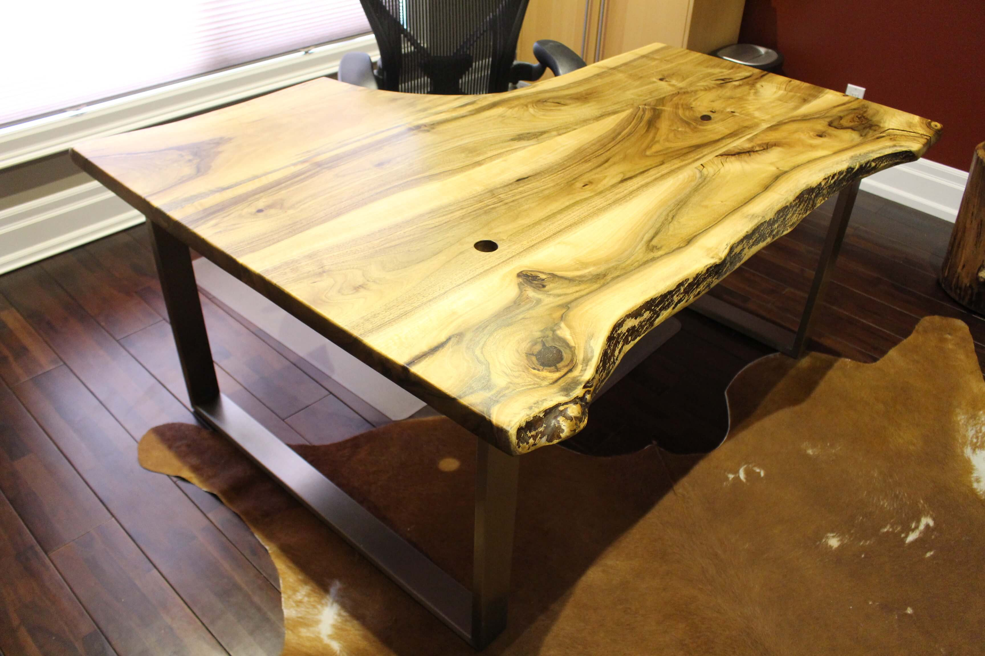 english walnut desk with stainless steel base