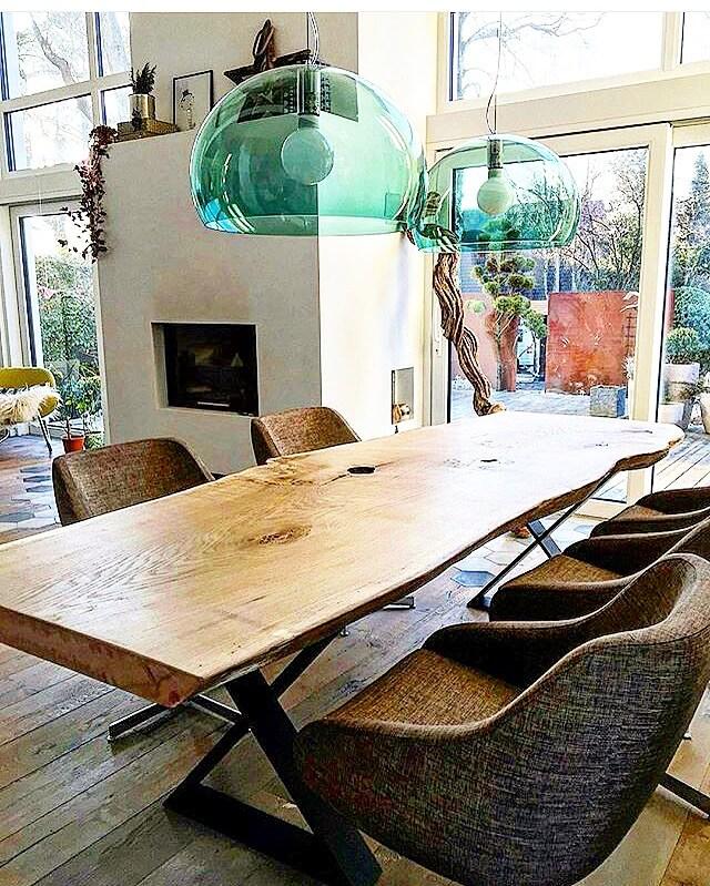 live edge table with steel base muskoka toronto new york