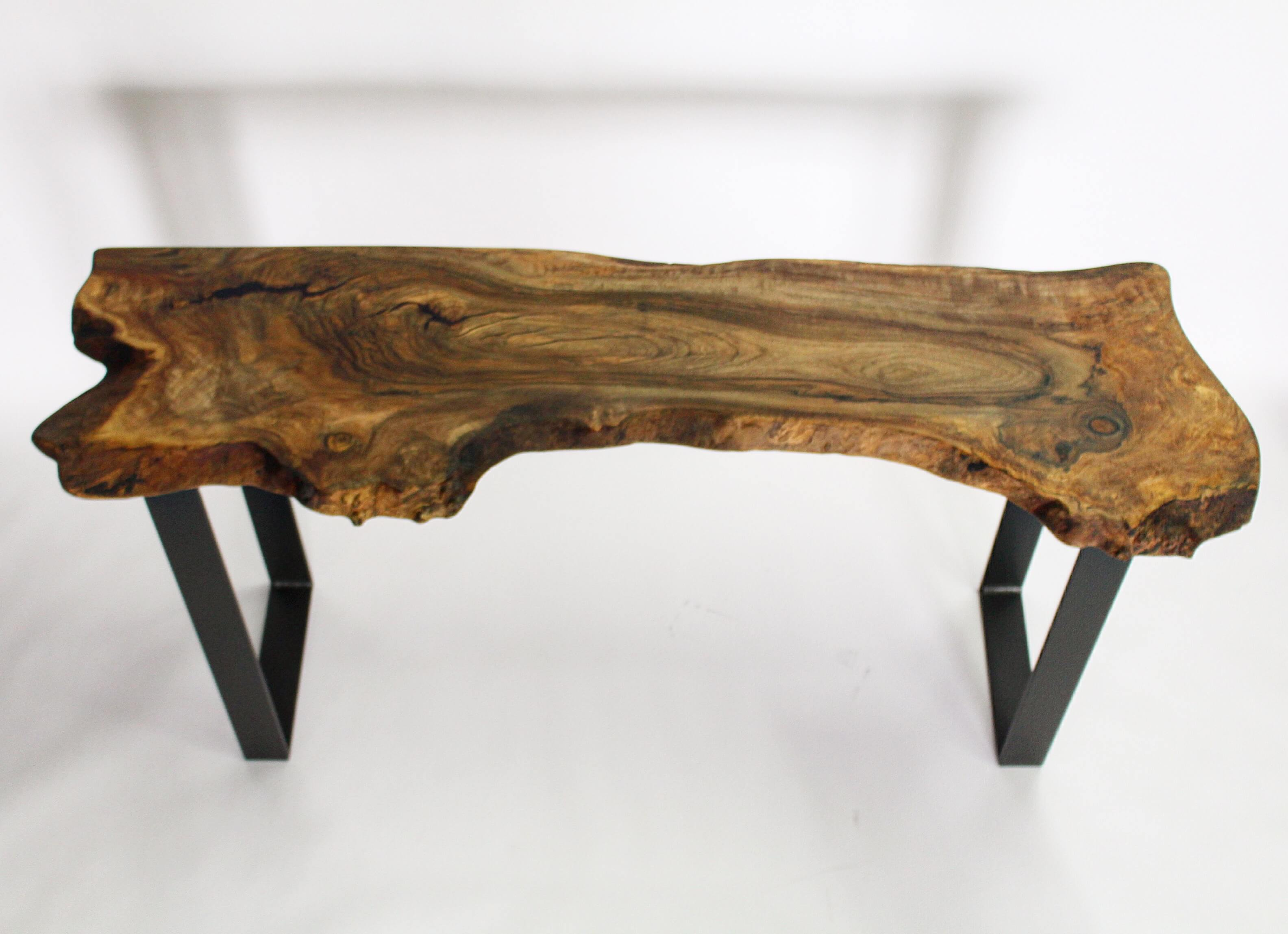 live edge walnut console table