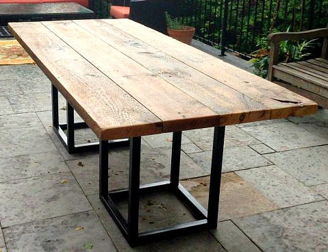 outdoor table with reclaimed barn beam and steel base