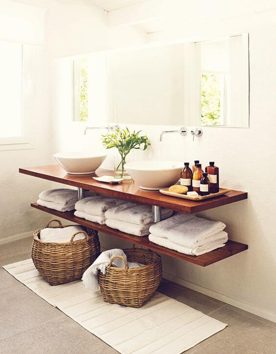 floating wood shelf vanity