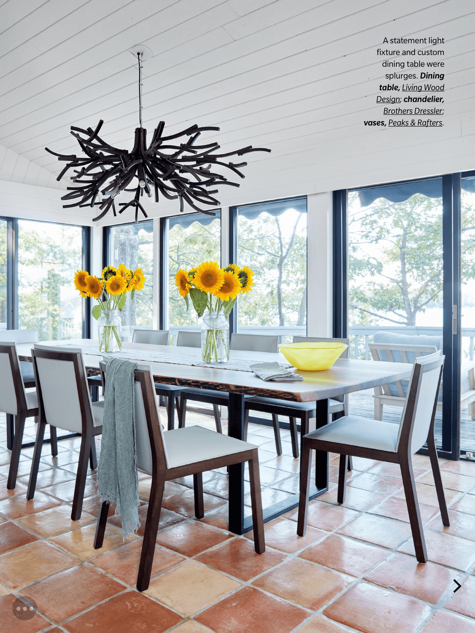 live edge black walnut dining table living wood design house & home magazine muskoka cottage