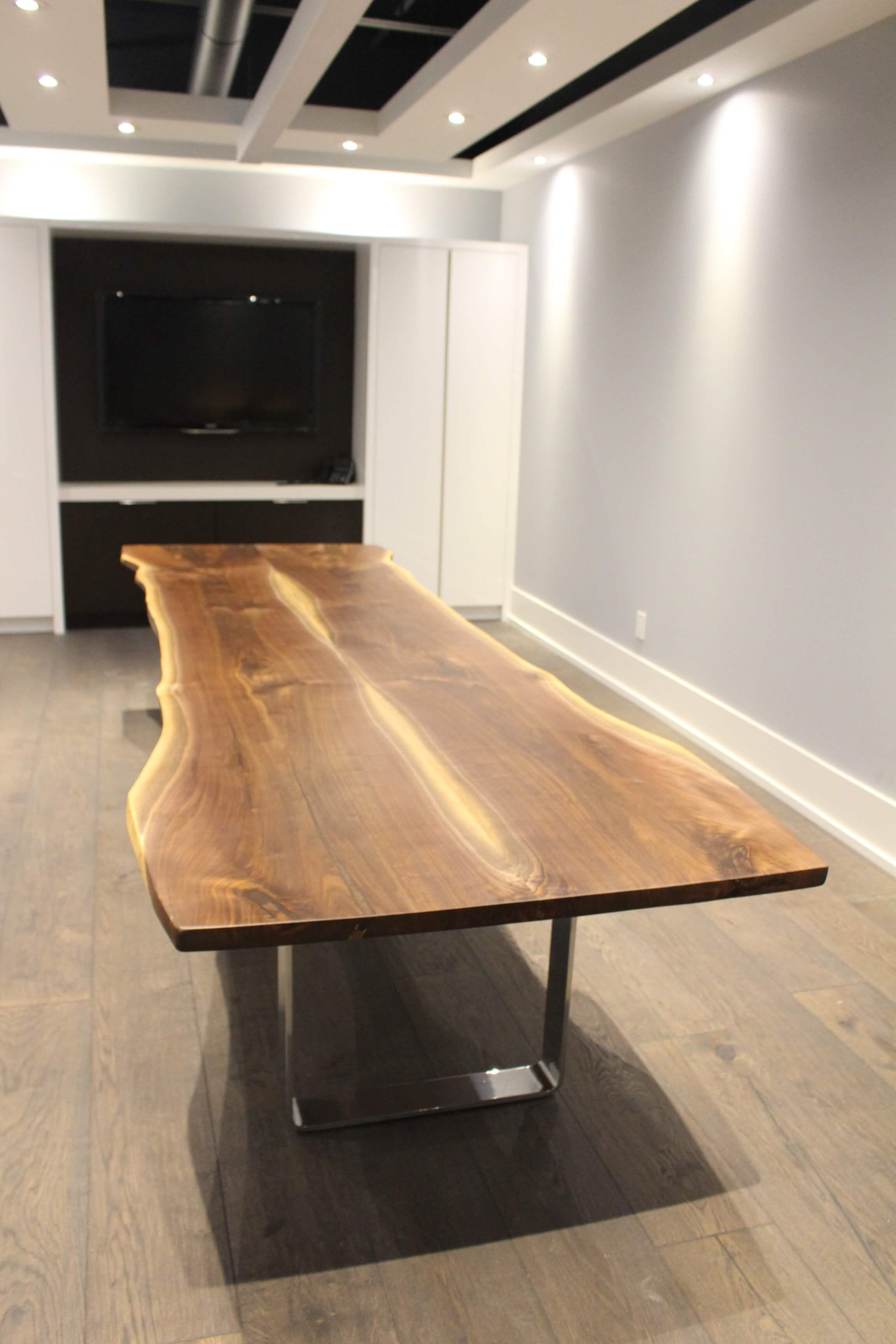 14' live edge black walnut table for New York City client