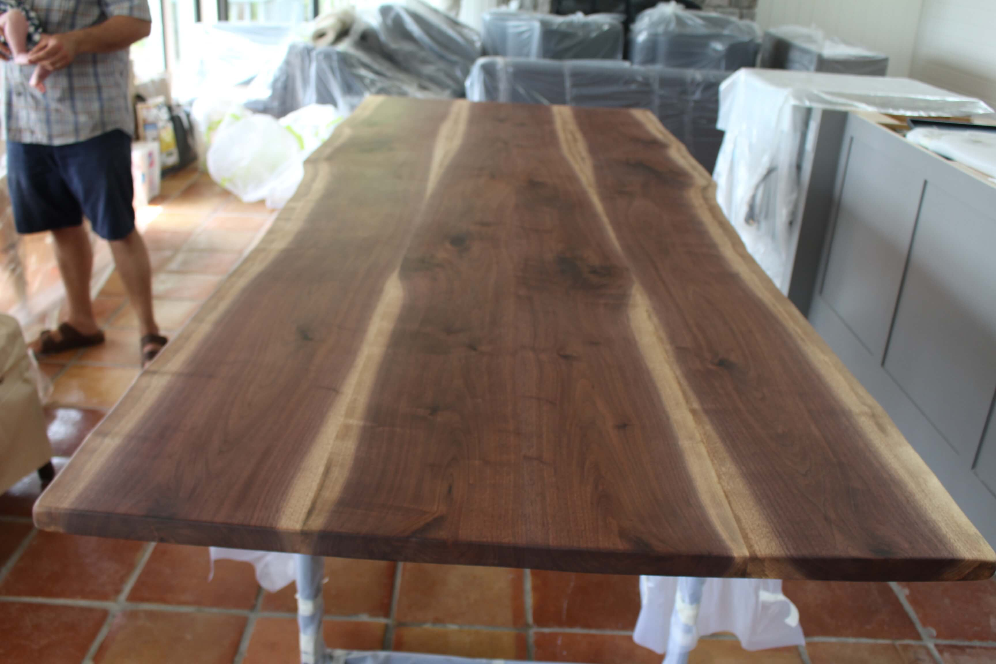 live edge walnut table living wood design muskoka cottage house and home magazine