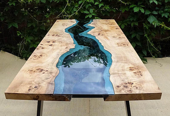 blue glass river table with live edge maple slab table top
