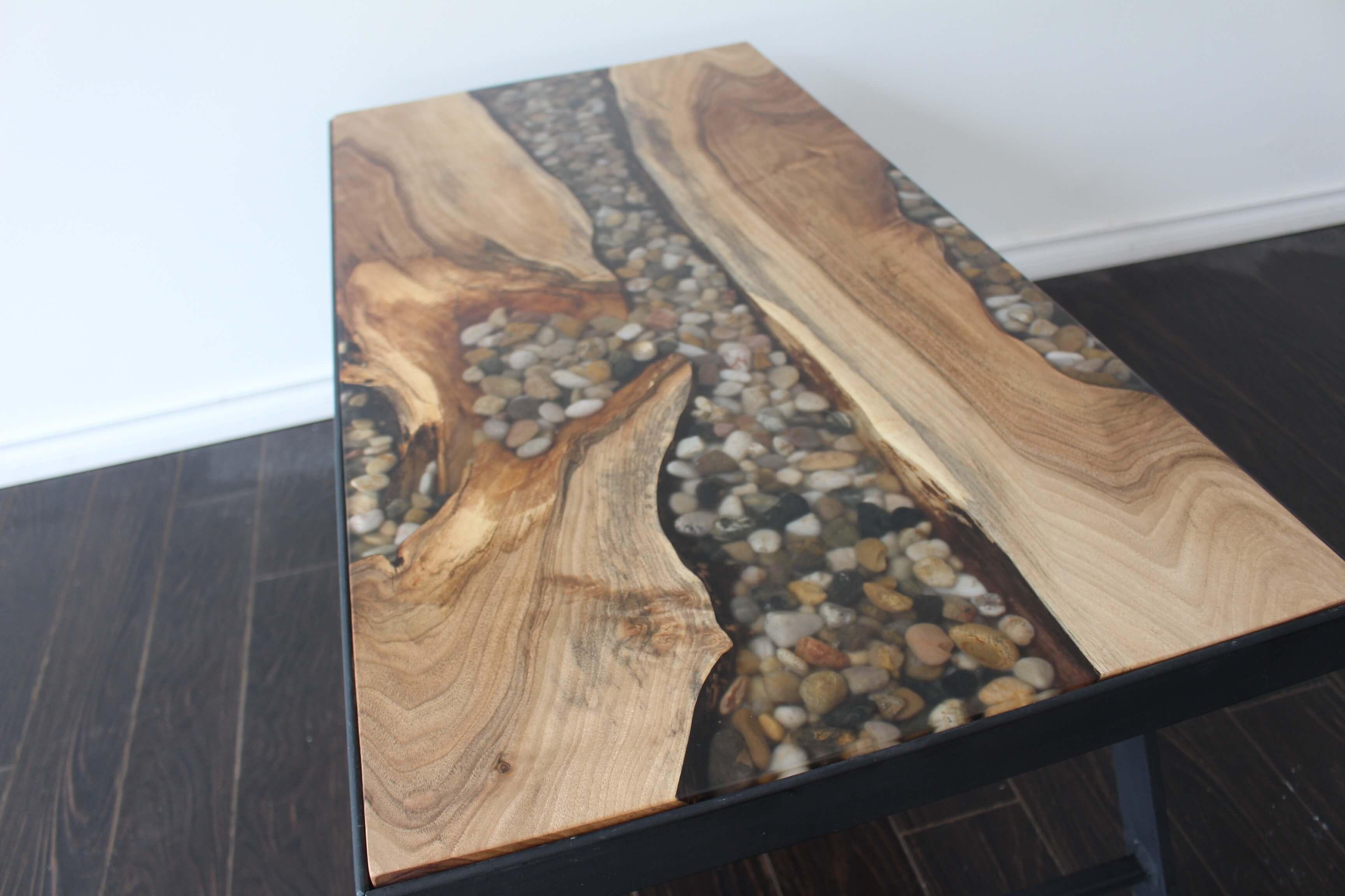english walnut pebble river table